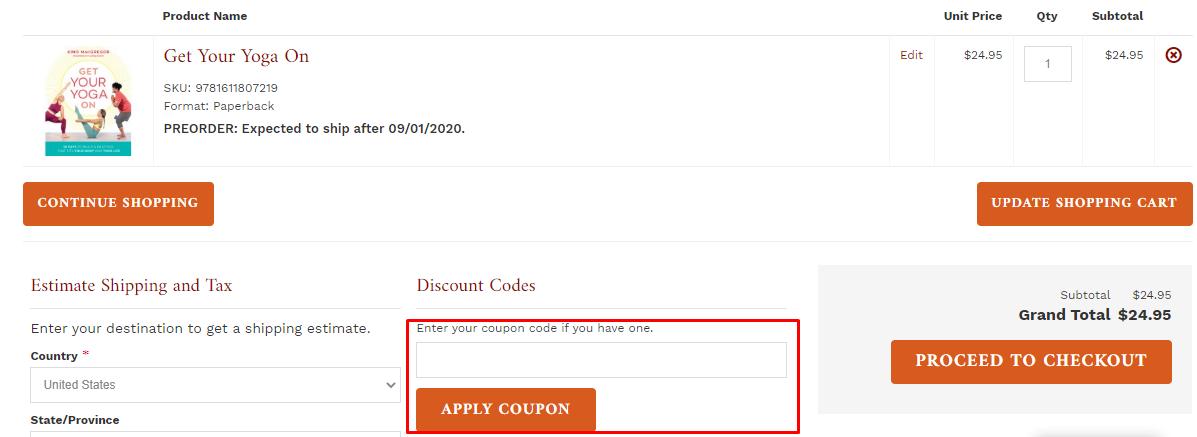 How do I use my Shambhala Publications coupon code?