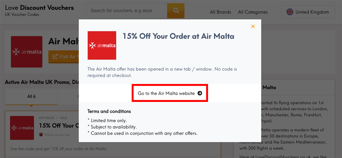 Air Malta UK Get Code