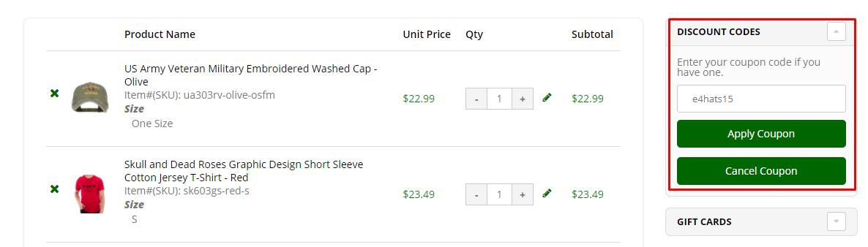 How do I use my e4Hats discount code?