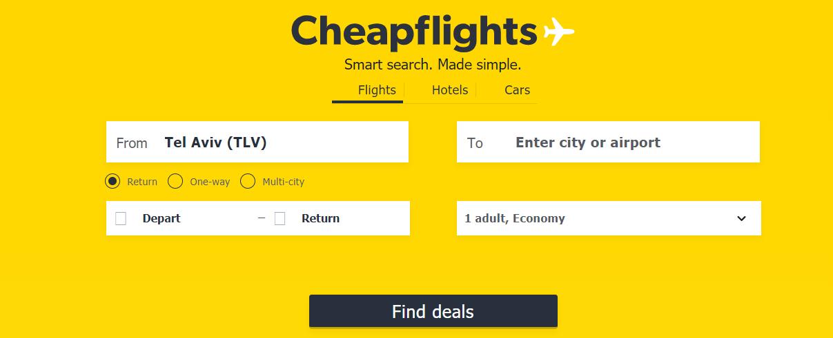 CheapFlights Homepage