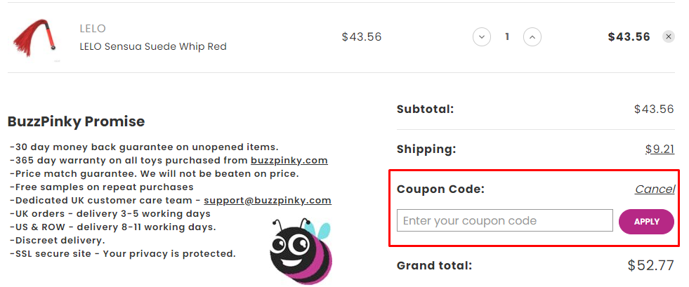 How do I use my Buzz Pinky coupon code?