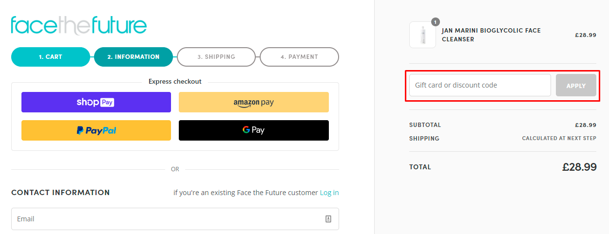 How do I use my Face the Future discount code?