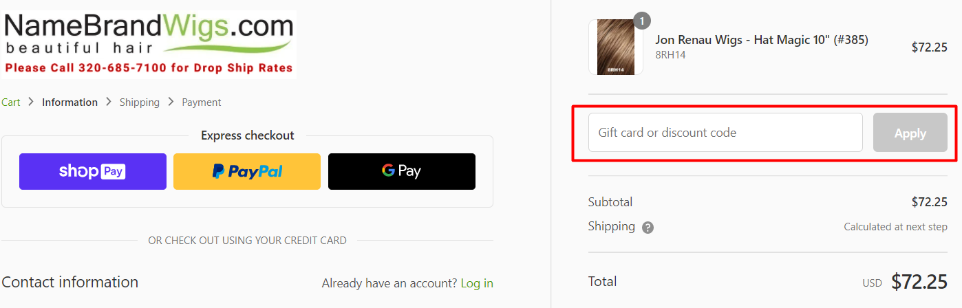How do I use my Name Brand Wigs discount code?