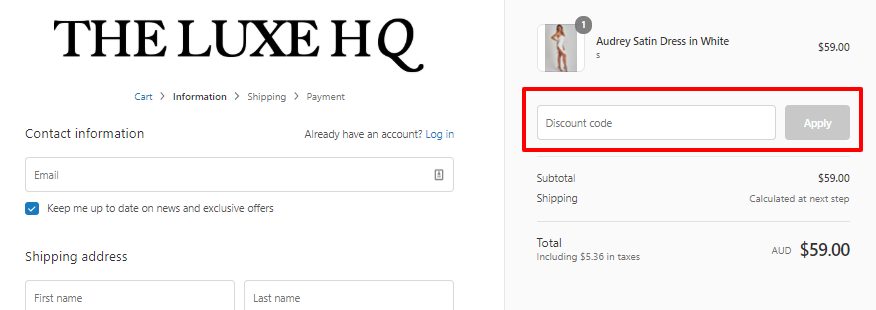How do I use my THE LUXE HQ discount code?