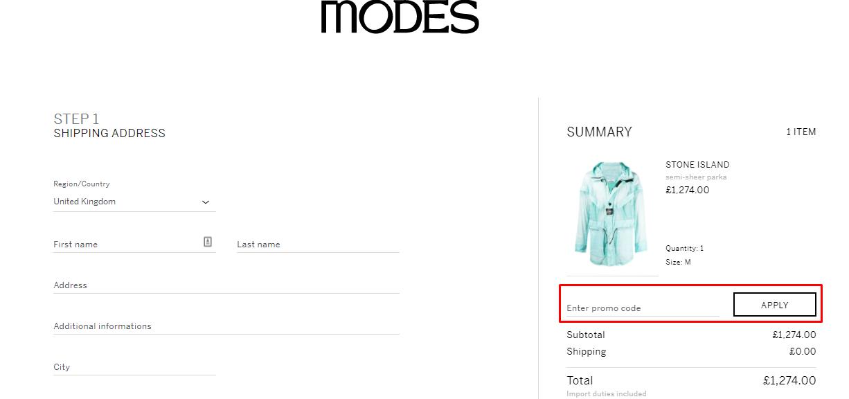 How do I use my Modes promo code?