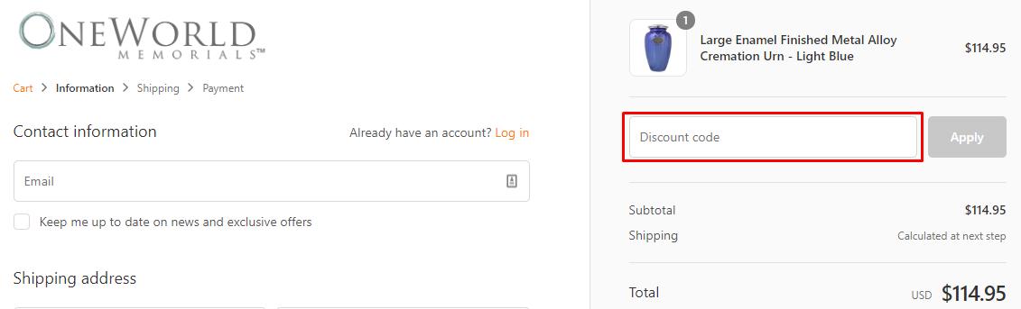 How do I use my Oneworld Memorials coupon code?