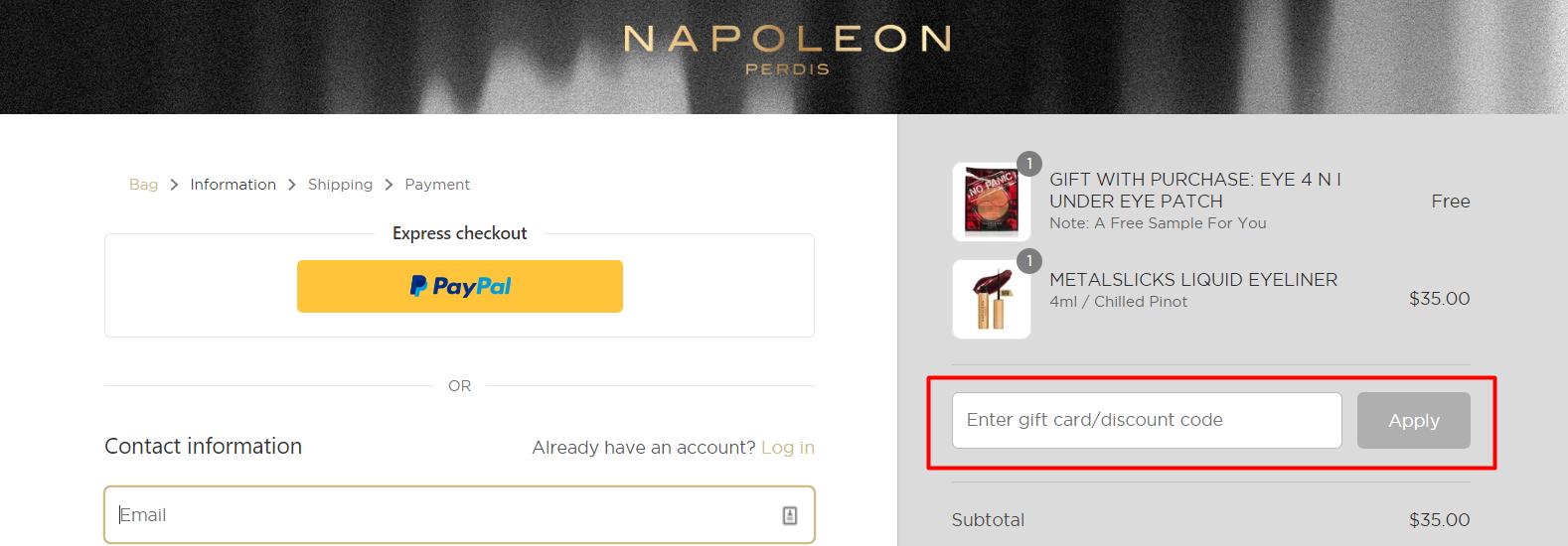 How do I use my Napoleon Perdis discount code