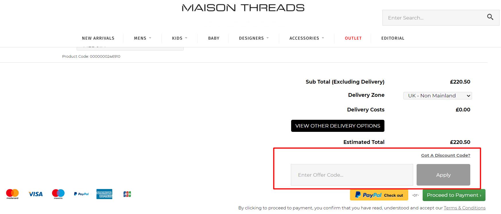 How do I use my Maison Threads discount code?