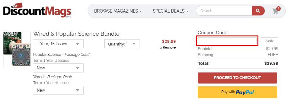 How do I use my DiscountMags.com coupon code?