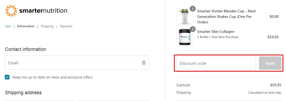 How do I use my Smarter Nutrition discount code?