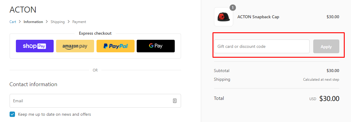 How do I use my ACTON discount code?