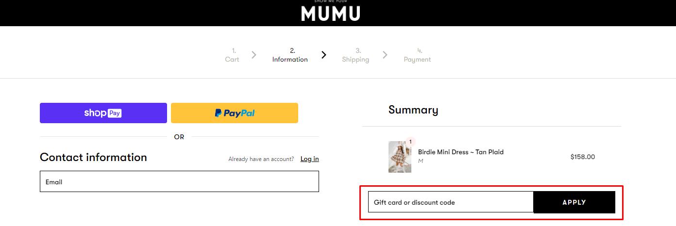 How do I use my Show Me Your Mumu discount code?