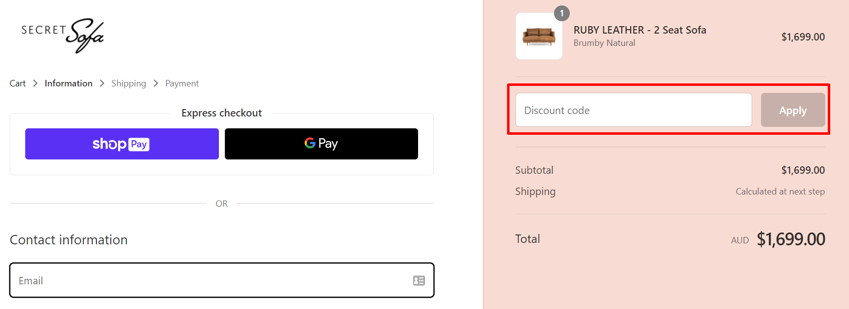 How do I use my Secret sofa discount code?