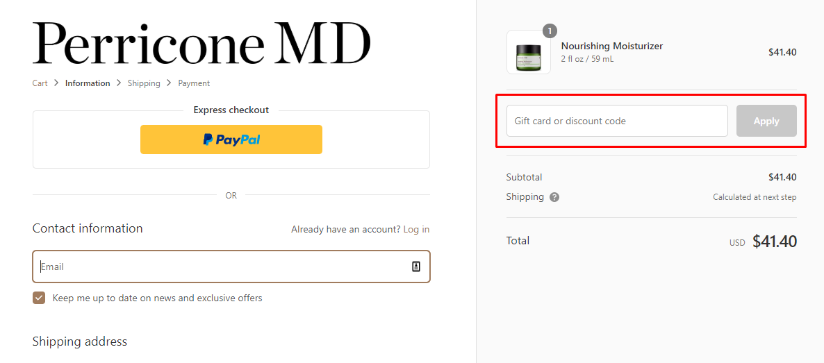 How do I use my Perricone MD discount code?