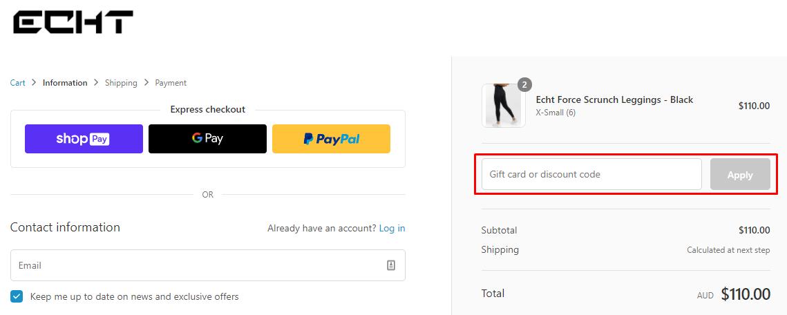 How do I use my ECHT discount code?