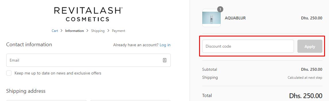 How do I use my Revitalash Cosmetics discount code?