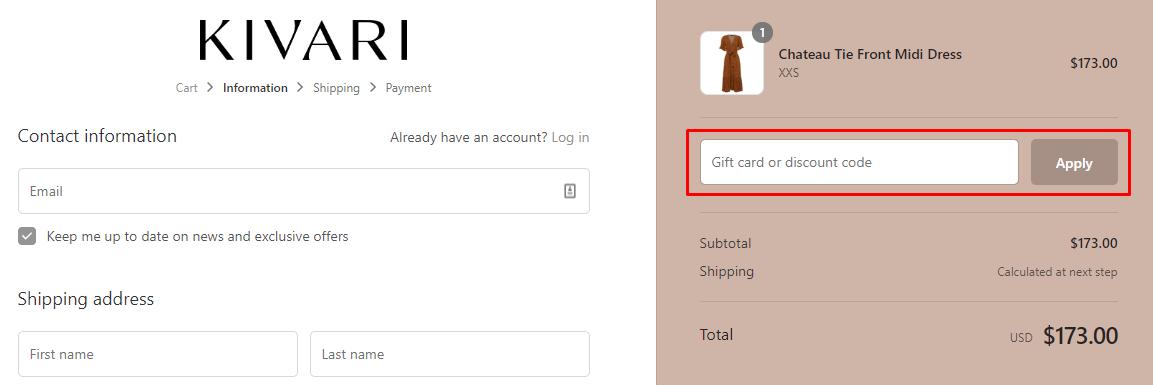 How do I use my Kivari discount code?
