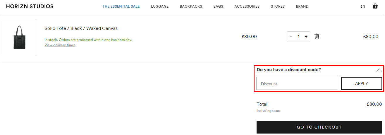 How do I use my Horizn Studios discount code?