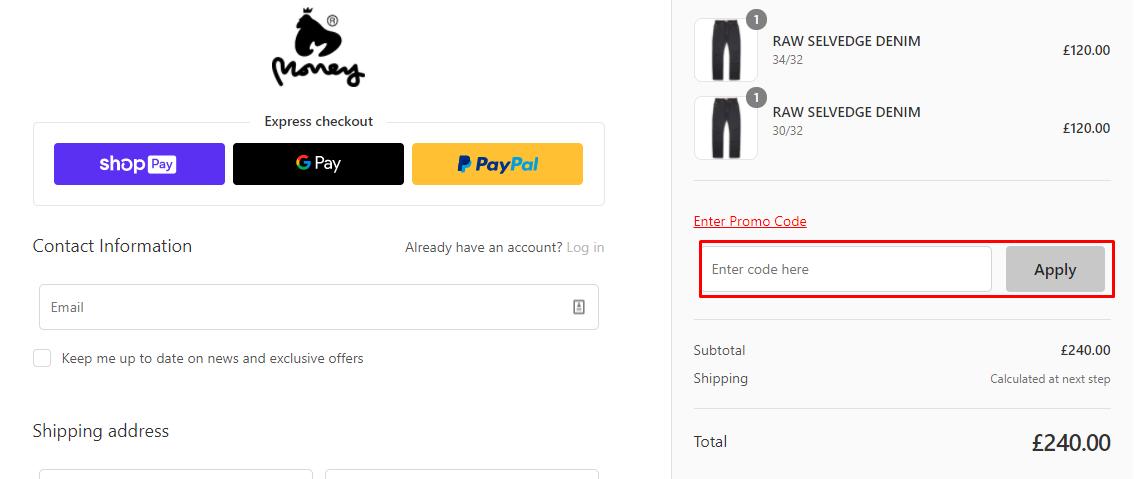 How do I use my Money Clothing promo code?