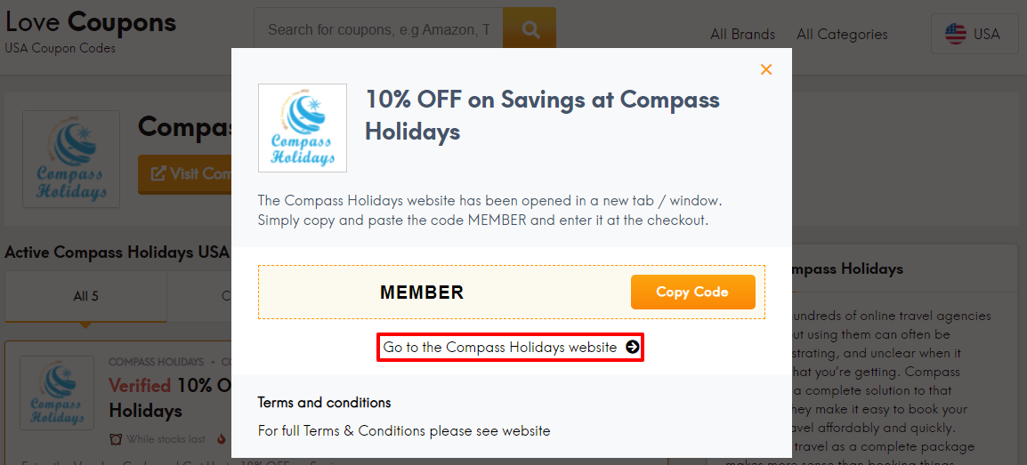 Compass Holidays Offer US