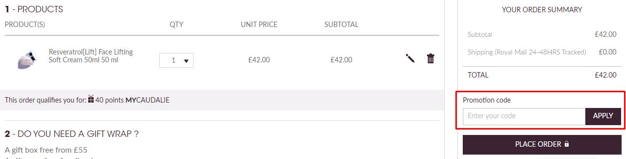 How do I use my Caudalie discount code?