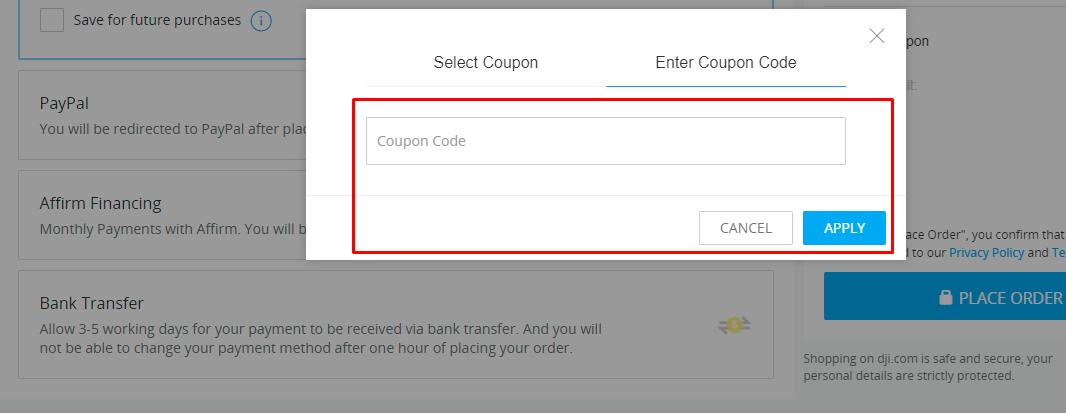 How do I use my DJI coupon code?