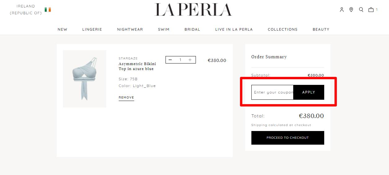 How do I use my LA PERLA coupon code?