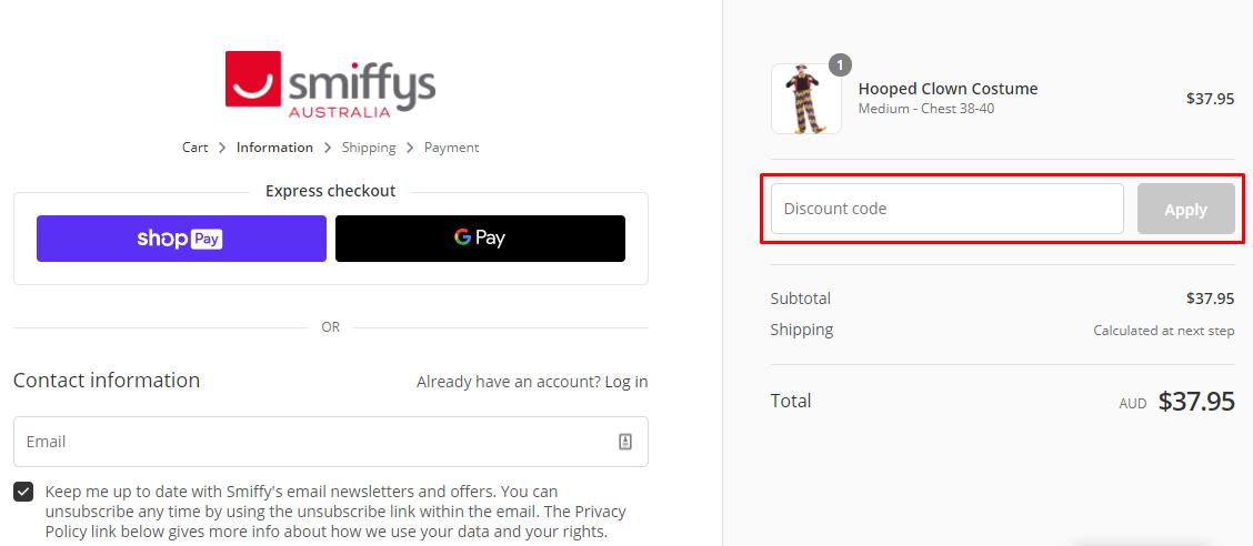 How do I use my Smiffys discount code?