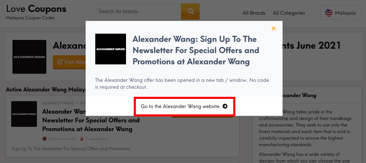 Alexander Wang MY Get Code