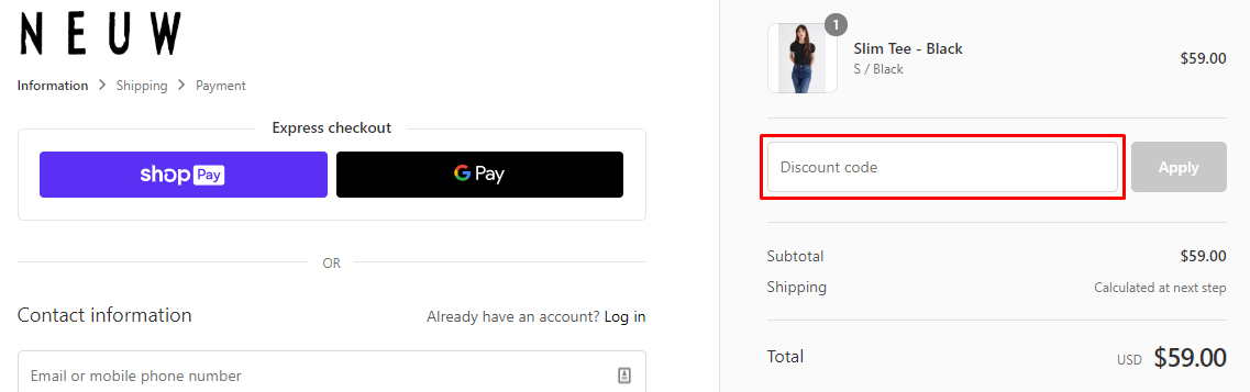How do I use my Neuw coupon code?