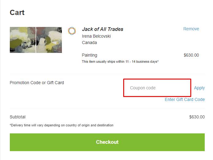 How do I use my Saatchi Art coupon code?