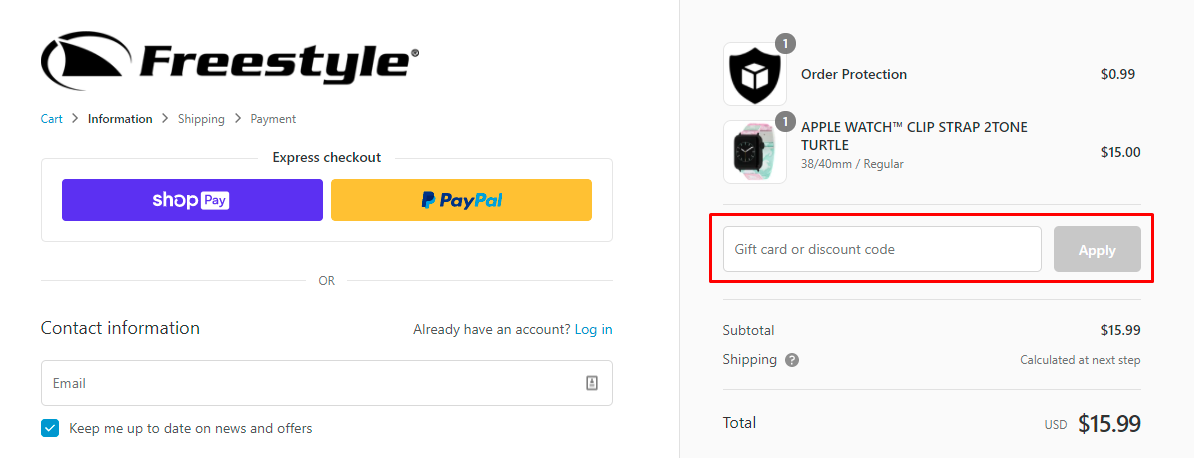 How do I use my Freestyle discount code?