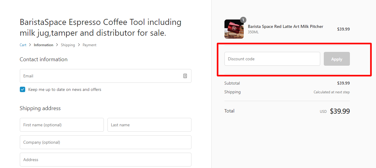 How do I use my Barista Space discount code?