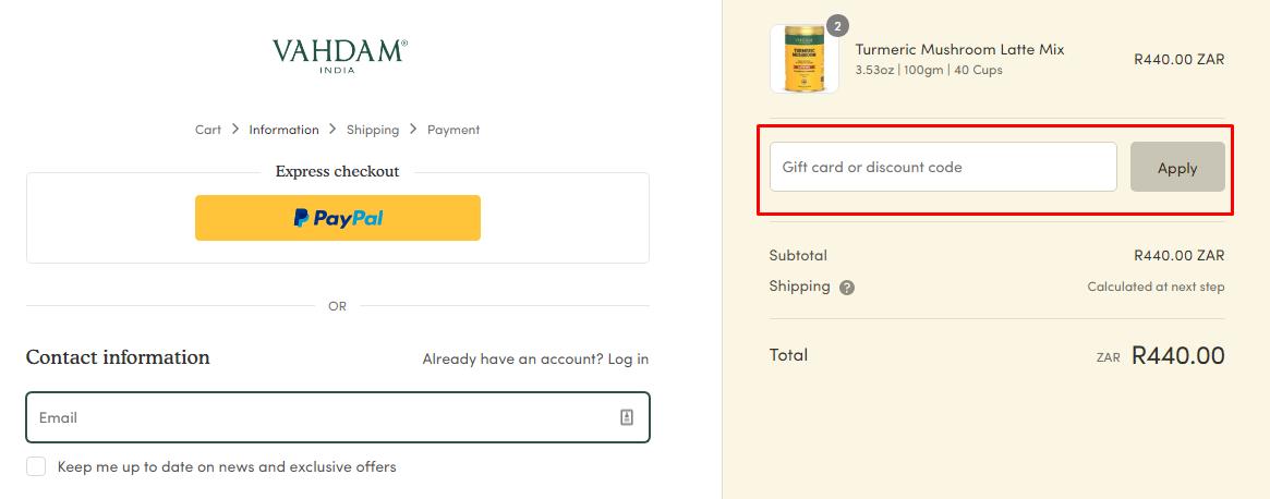 How do I use my Vahdam Teas discount code?