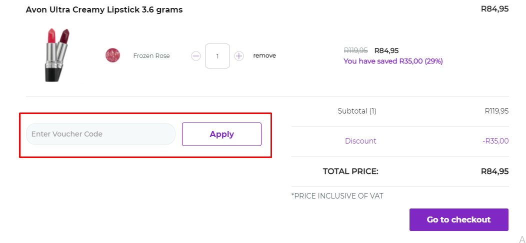 How do I use my Avon voucher code?