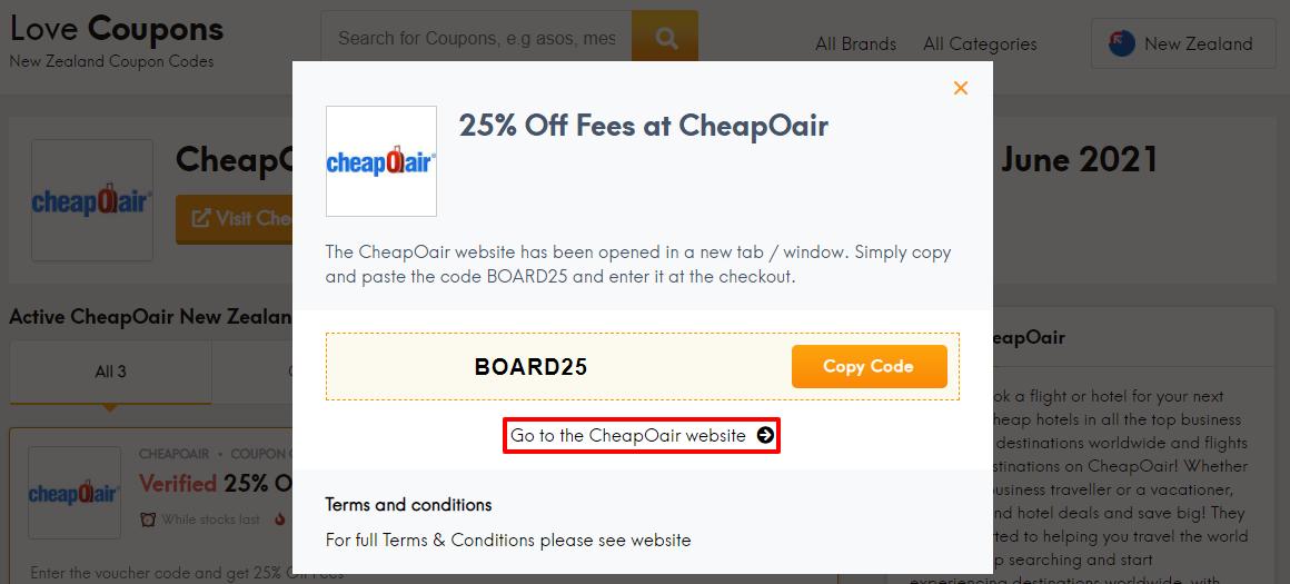 CheapOair Offer NZ