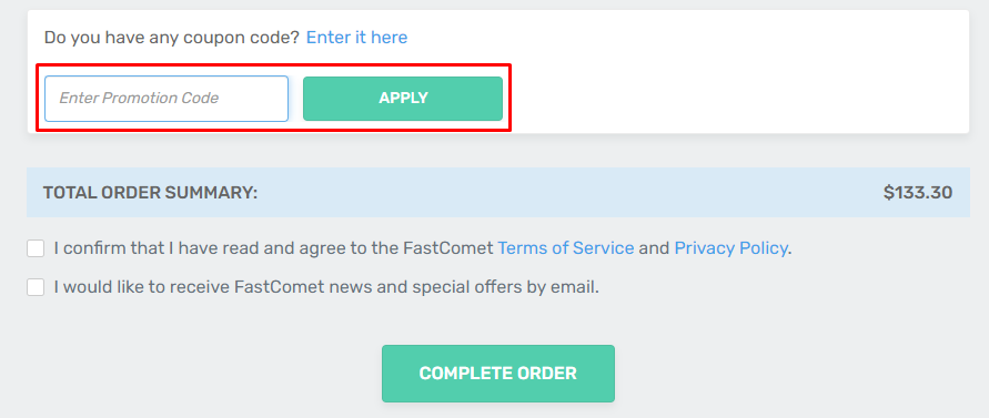 How do I use my FastComet coupon code?