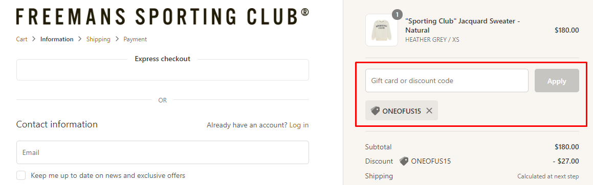 How do I use my Freemans Sporting Club discount code?