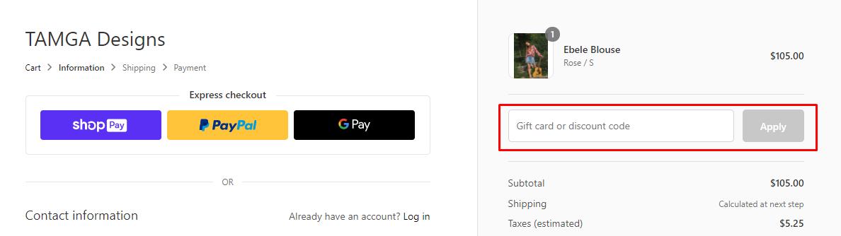 How do I use my TAMGA DESIGN discount code?