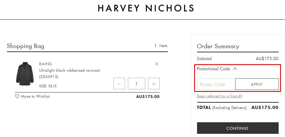 How do I use my Harvey Nichols promotional code?