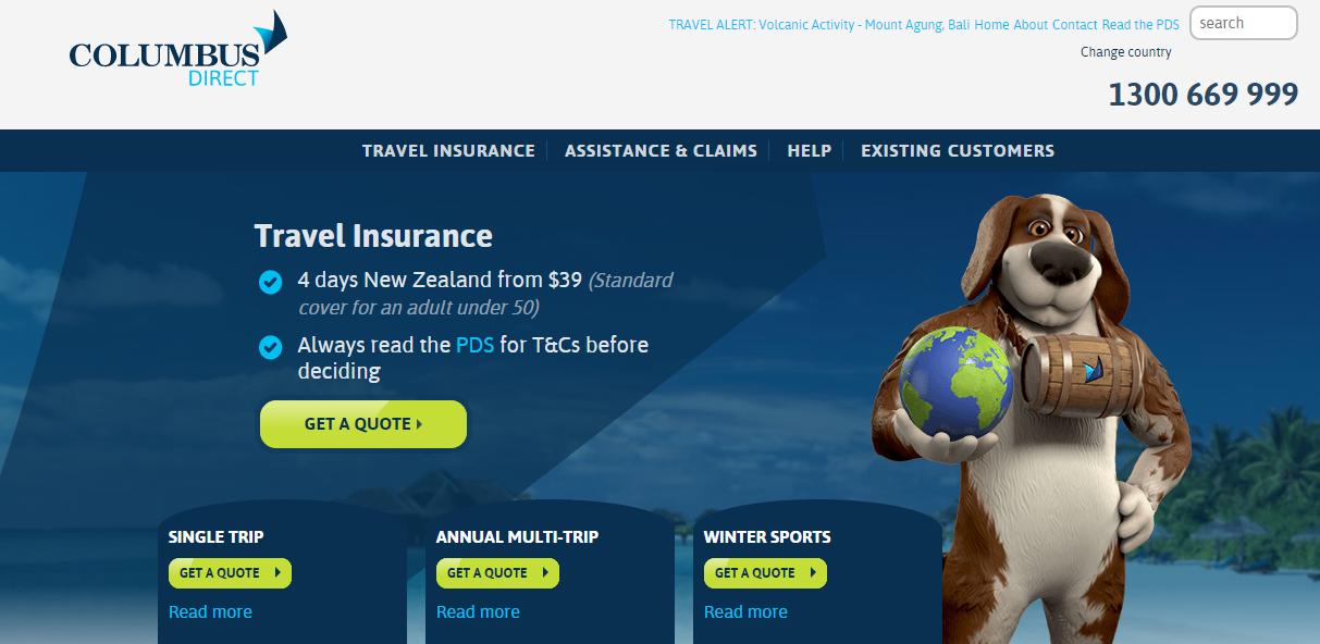 Columbus Direct Travel Insurance Homepage