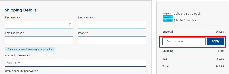 How do I use my Caliper coupon code?