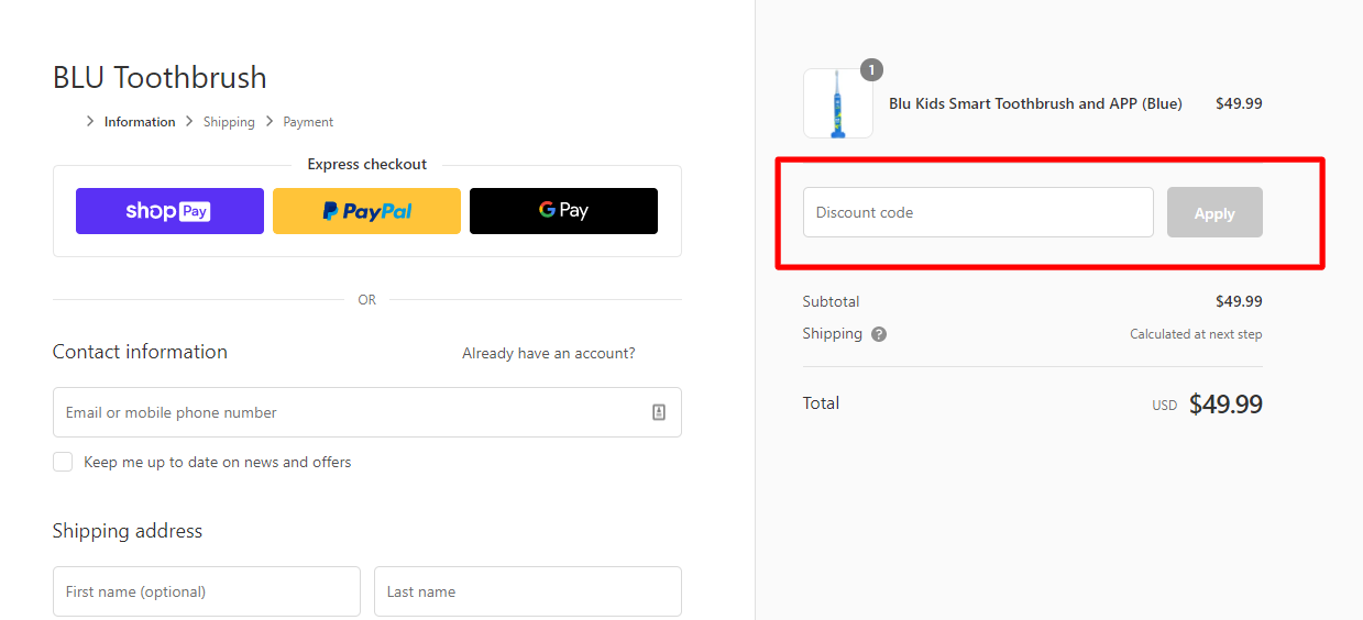 How do I use my BLU Toothbrush discount code?