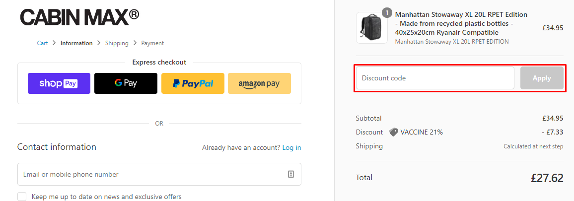 How do I use my Cabin Max discount code?