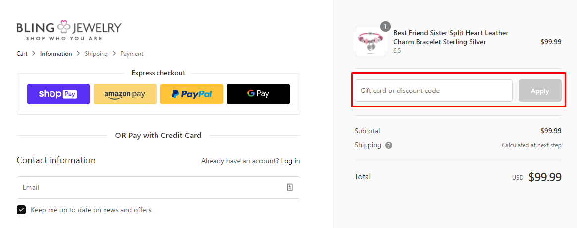 How do I use my Bling Jewelry discount code?