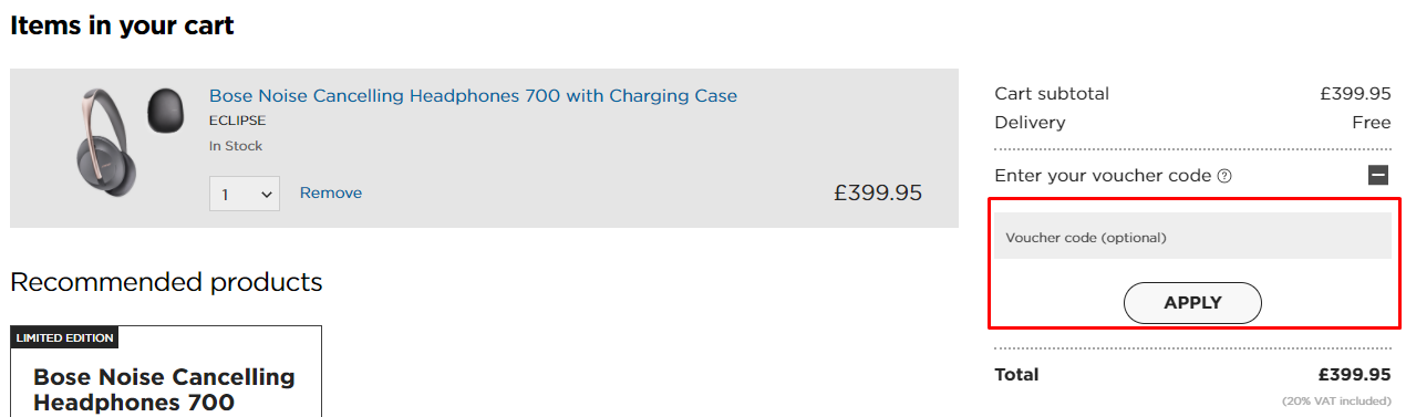 How do I use my Bose voucher code?