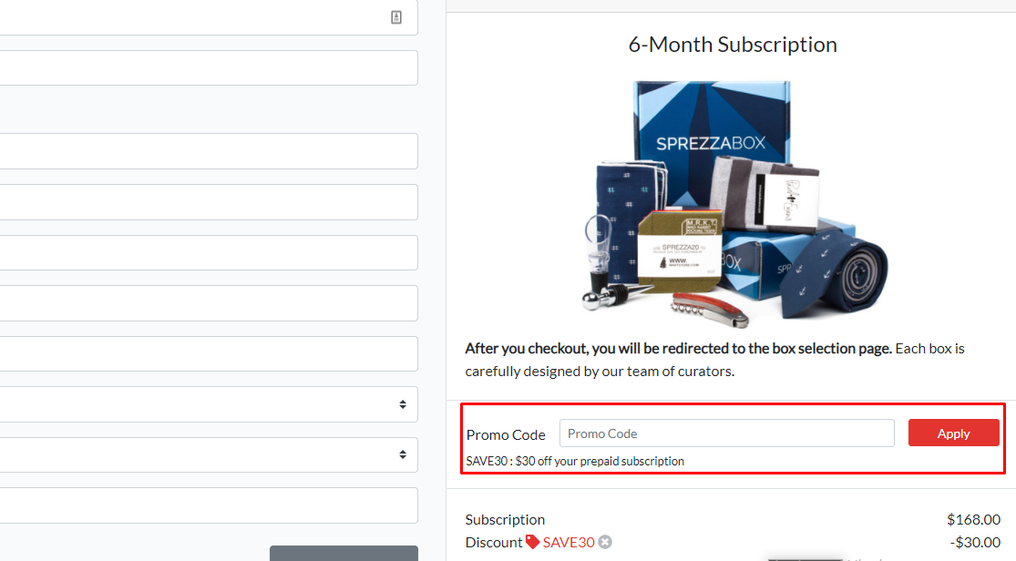 How do I use my Sprezza Box Promo code?