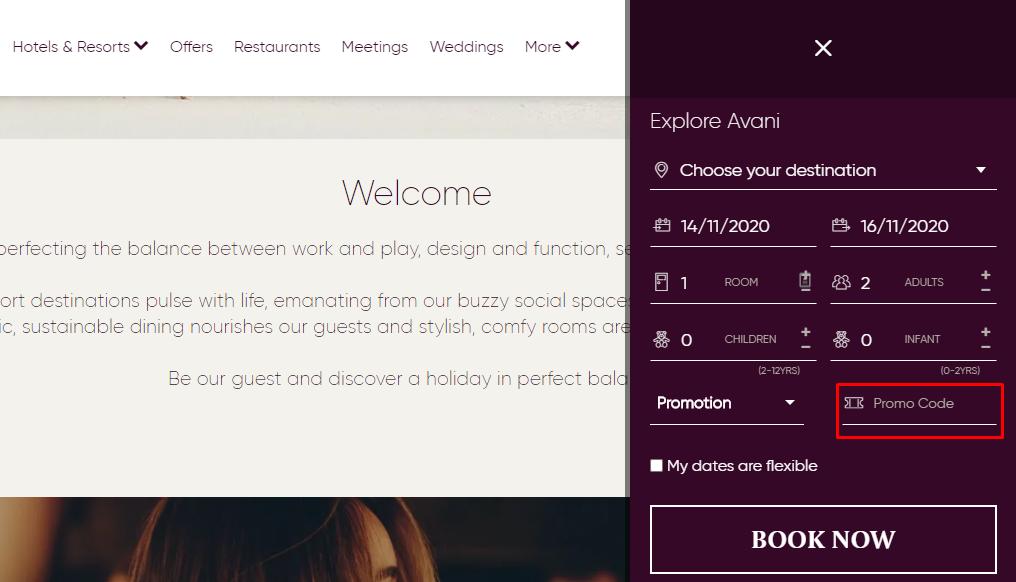 How do I use my Avani Hotels & Resorts promo code?