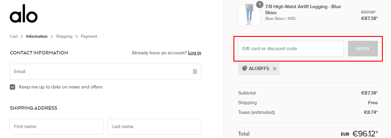 How do I use my Alo Yoga discount code?