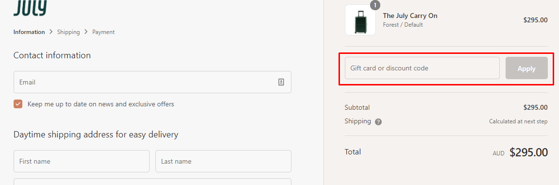 How do I use my July discount code?